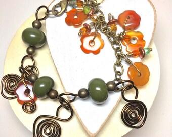 Dangle Bead Charms, Handmade Beaded Bracelet, Semiprecious Flower beads, Women's Bracelet, Women's Gift, Mothers Day