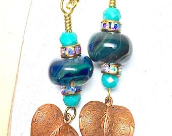 Dangle Earrings, Handmade Earrings, Handmade Lampwork Earrings, Handmade Jewelry, Red Dangle Earrings, Mothers Day, Birthday, Beautiful bead