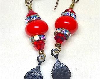 Red Dark Leaf Dangle Vintaj Earrings, Handmade Lampwork, Swarovski Crystal Earrings, Mothers Day, Birthday, Women's earrings, Red hot color.