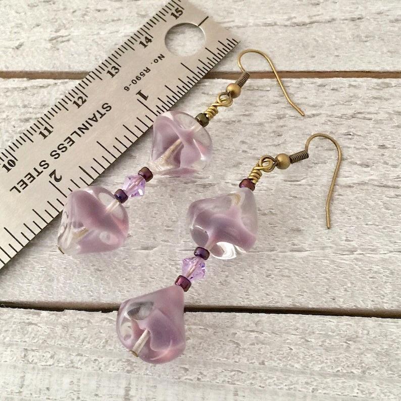 Woman Birthday Christmas Gift Boho Jewelry Dangle Earrings Girlfriend Gift Statement Earrings,Boho Purple Glass Drop Earrings