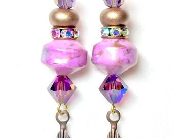 Dangle Earrings, Handmade Lampwork Earrings, Handmade Jewelry, Lucite Beaded Earring, Pink and Purple earring, Women's Earrings, Mothers Day