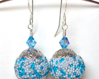 Blue Beaded Dangle Earrings, Handmade Earrings, Swarovski Crystal Earrings, Mothers Day, Birthday, Beaded Earrings, Blue Earrings