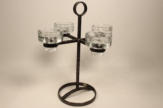 Kerzenleuchter glas und schmiedeeisen aus bo svensk schweden etsy