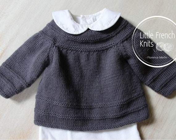 Baby Knitting Pattern Cardigan Sweater Wool French Instructions PDF Size newborn to 12 months