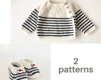 Baby Knitting Patterns Cardigan and Booties Wool English Instructions PDF Instant Download