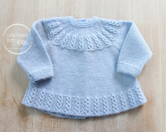 Knitting Pattern Baby Wool Cardigan Instructions in French PDF Size Newborn to 3 months