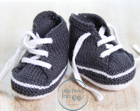 Baby Knitting Pattern Sneakers Booties Shoes Instructions in English PDF Size Newborn to 3 months