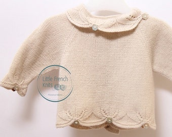 Knitting Pattern Baby Cardigan Sweater Instructions in French Size Newborn to 3 months