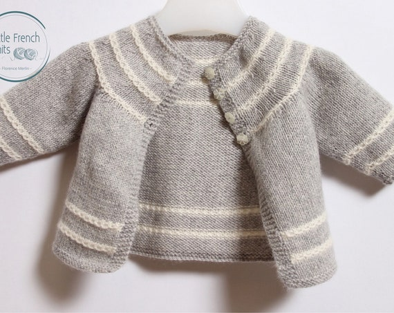 Baby Knitting Pattern Cardigan Sweater Wool French Instructions PDF Sizes Newborn to 12 months