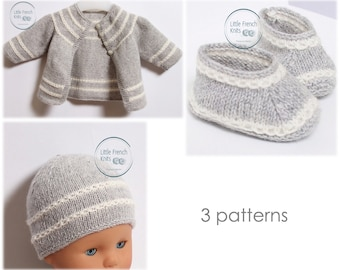 Baby Knitting Patterns Cardigan Sweater Wool French Instructions PDF Sizes Newborn to 12 months
