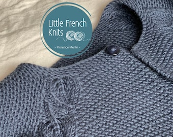 Knitting Pattern Baby Cardigan Sweater Instructions in French PDF Instant Download Sizes Newborn to 2 years