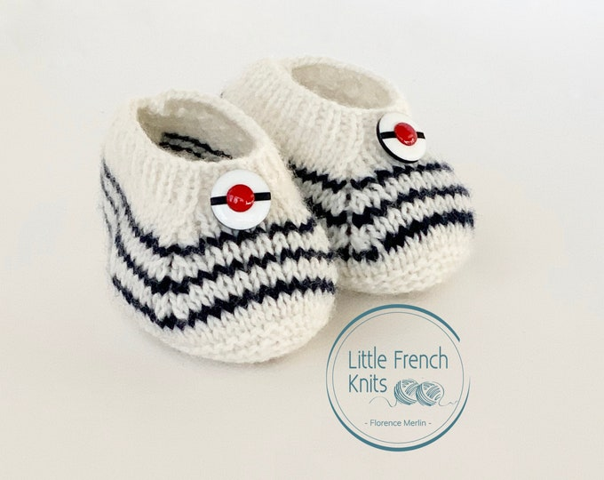 Featured listing image: Knitting Pattern Baby Wool Booties Instructions in English PDF Sizes Newborn to 6 months