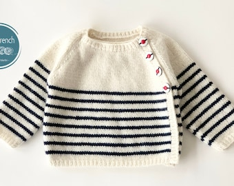 Knitting Pattern Baby Wool Cardigan Instructions in French PDF Sizes Newborn to 18 months