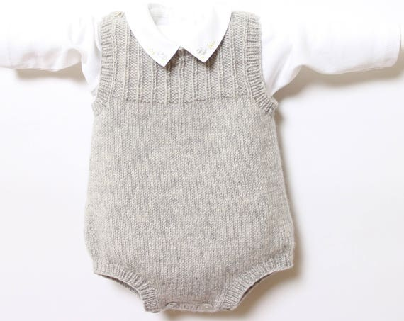 knit Baby Romper Onesie Pattern Instructions in French PDF Instant Download Sizes Newborn to 24 months