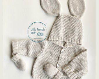 Knitting Pattern Baby Wool Coat Instructions in English PDF Sizes Newborn to 18 months