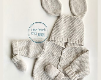 Knitting Pattern Baby Wool Coat Instructions in French PDF Sizes Newborn to 18 months