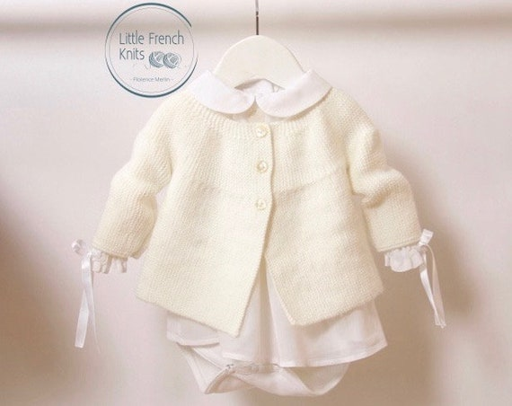 47 / Baby Jacket / Knitting Pattern Instructions in French / 4 Sizes : 0-3 months / 6-9 months / 12-18 months and 24 months