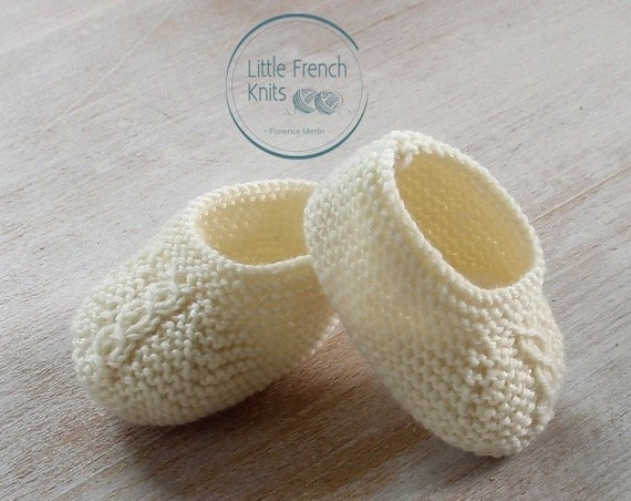 Knitting Pattern Baby Booties Princess Charlotte Instructions in French Instant Digital Download PDF Sizes Newborn to 6 months
