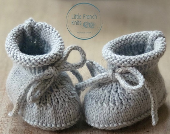 knitting Pattern Baby Booties Instructions in French Instant Digital Download PDF Sizes Newborn to 6 months