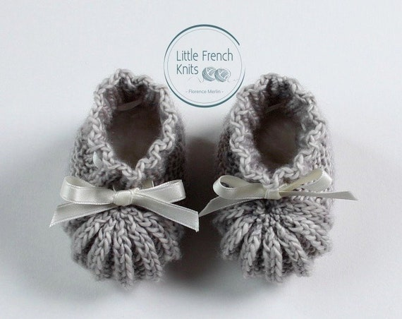 knitting Pattern Baby Booties Instructions in French Instant Digital Download PDF Sizes Newborn to 3 months