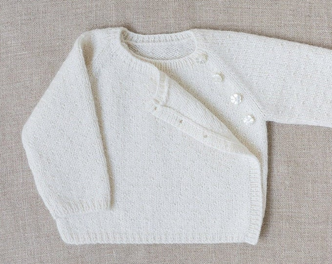 Featured listing image: Knitting Pattern Baby Wool Cardigan Instructions in English PDF Sizes Newborn to 18 months