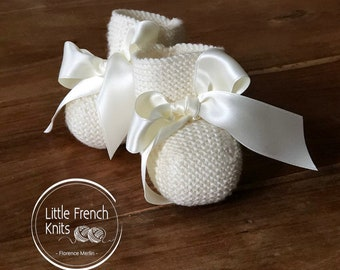 knitting Pattern Baby Booties Instructions in French Instant Digital Download PDF Sizes Preemie to 6 months