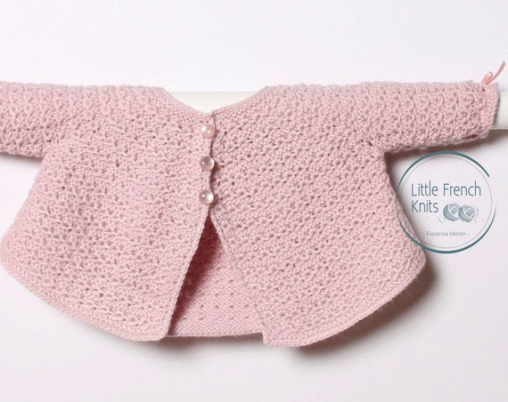 Knitting Pattern Baby Cardigan Sweater Instructions in French Sizes Newborn to 6 months