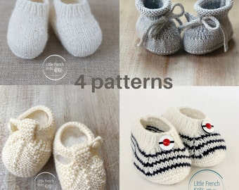 Baby Knitting Pattern Booties Shoes Instructions in English Instant Digital Download PDF