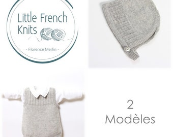 Knitting Pattern Baby Set Instructions in French PDF Instant Download 4 Sizes Newborn to 24 months