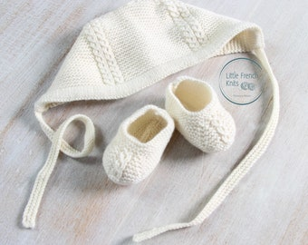 Baby Knitting Patterns Princess Charlotte Royal Baby Bonnet Hat and Booties Wool French Instructions PDF Instant Download