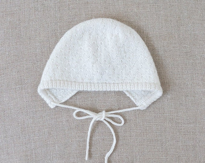 Featured listing image: Baby Knitting Pattern Bonnet Hat Wool English Instructions PDF Sizes newborn to 24 months