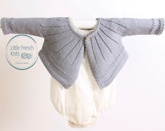 Baby Knitting Pattern Cardigan Sweater Wool English Instructions PDF Size 6 and 12 months