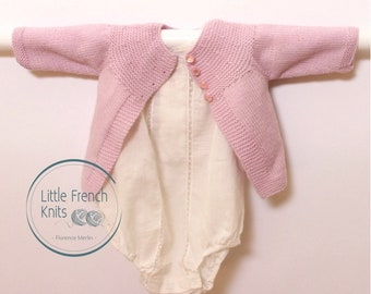 Knitting Pattern Baby Wool Cardigan Instructions in French PDF Sizes Newborn to 12 months