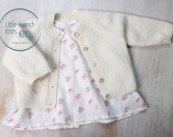 Knitting Pattern Baby Cardigan Sweater Princess Charlotte Instructions in English PDF Instant Download Sizes Preemie to 24 months