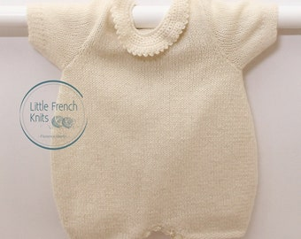 Knitting pattern Romper / Instructions in French / PDF Instant download / Sizes Newborn / 3 / 6 months