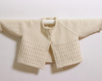 Knitting Pattern Baby Wool Cardigan Instructions in English PDF Sizes Newborn to 18 months