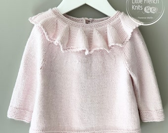 Knitting Pattern Baby Sweater Instructions in French PDF Instant Download Sizes Newborn to 4 years