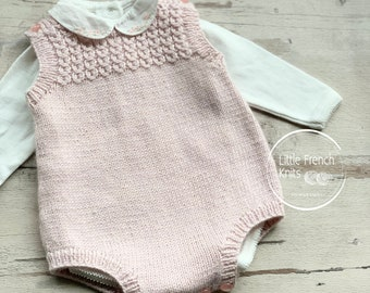 Baby Knitting Pattern Romper Wool English Instructions PDF Sizes newborn to 24 months