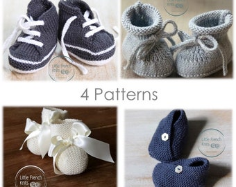 Baby Knitting Pattern Booties Shoes Instructions in English Instant Digital Download PDF 4 Patterns