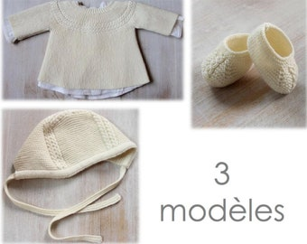 Baby Set Knitting Instructions in French PDF Instant Download Sizes Newborn to 6 months