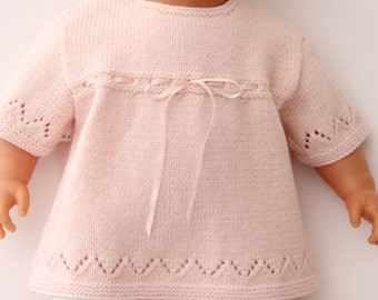 Baby Knitting Pattern Tunic Dress Sweater Wool English Instructions PDF Instant download Size Newborn to 3 months