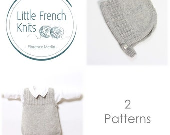 Baby Set / 2 Patterns / Knitting Instructions in English / PDF Instant Download / 4 Sizes : Newborn / 24 months