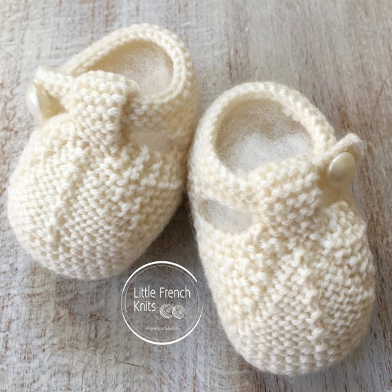knitting Pattern Baby Booties Instructions in French Instant Digital Download PDF Sizes Newborn to 9 months