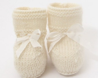 knitting Pattern Baby Booties Instructions in English Instant Digital Download PDF Sizes Newborn to 12 months