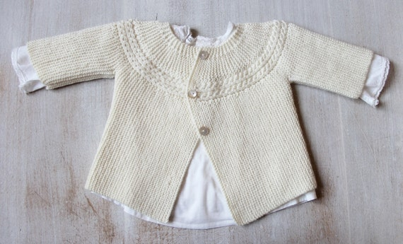 29 / Princess Charlotte Jacket / Knitting Pattern Instructions in English / PDF Instant Download / 3 Sizes : Newborn / 3 months / 6 months