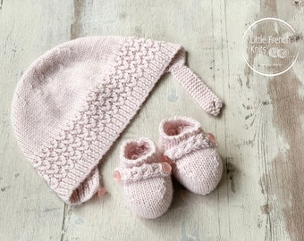 knitting Patterns Baby Booties and Bonnet Instructions in English Instant Digital Download PDF Sizes Newborn to 12 months