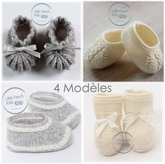 Baby Knitting Pattern Booties Shoes Instructions in French Instant Digital Download PDF