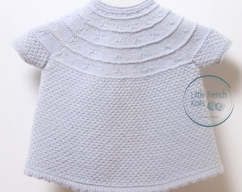 Baby Knitting Pattern Dress Wool French Instructions PDF Instant Download Sizes 3 months to 9 months
