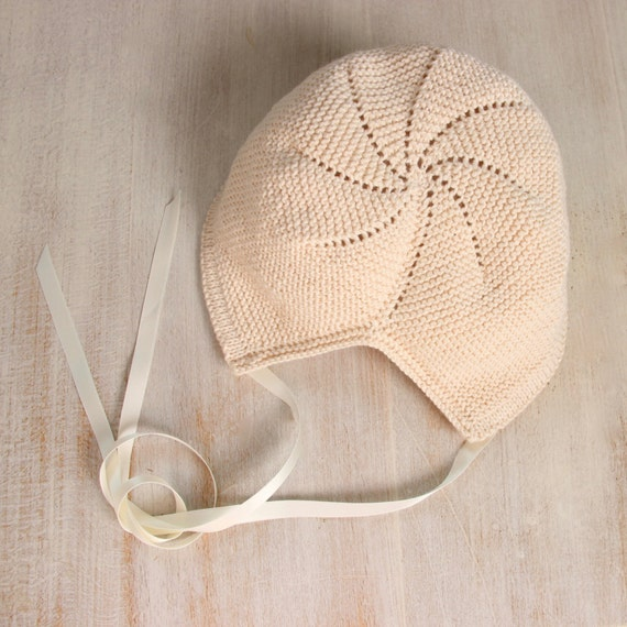Baby Knitting Pattern Bonnet Hat Wool English Instructions PDF Size newborn to 3 years
