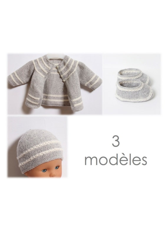 Baby Set / 3 Patterns / Knitting Pattern Instructions in French / PDF Instant Download